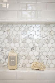 Mill Valley Estate bathroom. Shower niche tile is calacatta hexagon - Kcs, inc.