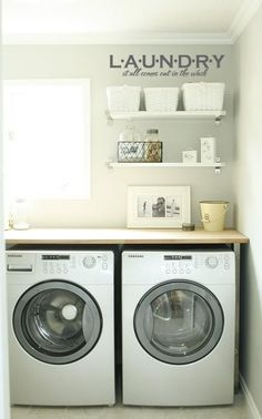 """""""Laundry It All Comes Out In The Wash"""" decorative vinyl lettering decals for the laundry room @Lacy Bella"""