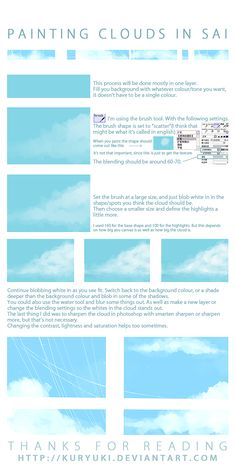 Cloud Painting Tutorial in SAI by =kuryuki on deviantART Digital Painting Tutorials, Digital Art Tutorial, Painting Tools, Art Tutorials, Link Art, Coloring Tutorial, Drawing Techniques, Drawing Tips, Anatomy Tutorial