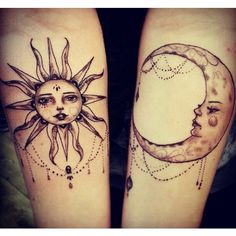 Sun and moon tattoo Body Art The Beauty of Tattoos and Piercing. ❤ liked on Polyvore featuring accessories, body art, tattoos, tatoos and tattoos and piercings