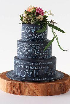 Beautiful chalkboard wedding cake. | http://mysweetengagement.com