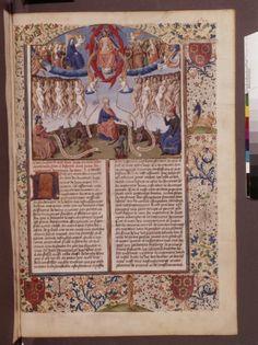 De civitate dei (BNF Fr. 19, fol. 190), c. 1469-1473---boy on stick horse at bottom of border