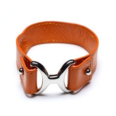 orange leather bracelet with stainless steel clasp, 00575