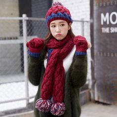 2879c15bea4a8 Winter cable knit hat scarf and gloves set for women with pom pom