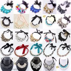 Fashion Ribbon Bib Statement Vintage Necklace Styles.  Last blue & black ones w/ ribbon & pearls.  Could probably make similar w/ 2 needle weaving.