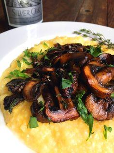 Vegan Seared Garlic-Balsamic Mushrooms with Fresh Thyme & Creamy Polenta (Grits)