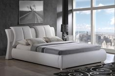 8269 Upholstered Bed in White Leatherette by Global