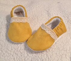 MJs Wish List :: Mustard Baby Booties with Lace. It is made with a micro suede fabric with a velvety touch. It has an elastic around the ankle lined with fleece inside and has a dots sole fabric.  Please read our shop/shipping policies.  Processing is 2-3 weeks. Walker sole Upgrade is available for active walking little ones.