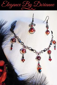 Exquisitely Dark, Romantic Victorian Gothic, Red and Black Pearl and Crystal Choker and Earring Set! Appropriate for any Gothic Queen! Victorian Jewelry, Victorian Gothic, Gothic Jewelry, Bohemian Jewelry, Etsy Jewelry, Handmade Jewelry, Coin Jewelry, Jewelry Gifts, Jewelry Accessories