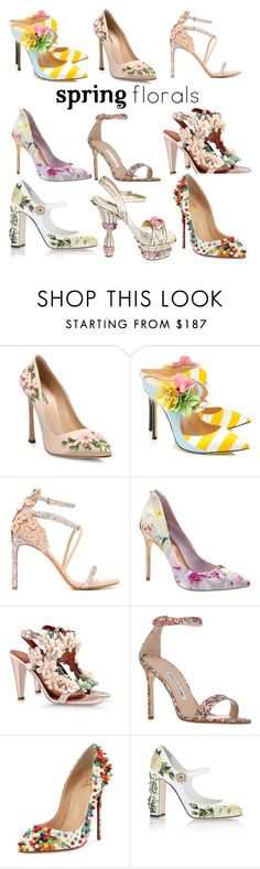 """""""Flower up your feet"""" by iesse ❤ liked on Polyvore featuring Giambattista Valli, Giannico, Stuart Weitzman, Ted Baker, Alberta Ferretti, Manolo Blahnik, Christian Louboutin, Dolce&Gabbana, contest and Flowers"""