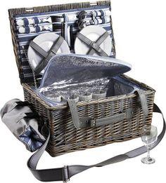 Valise pique-nique en osier gris 4 couverts: Amazon.fr: Cuisine & Maison
