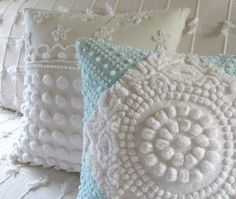 WHITE TARGET vintage chenille pillow cover