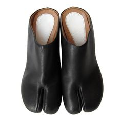 Martin Margiela Tabi Black Mule Wedge Split Toe Shoes For Sale Black Slip On Shoes, Leather Slip On Shoes, Black Leather, Black Wedges Outfit, Wedge Sandals, Wedge Shoes, Tabi Shoes, Sneakers Fashion, Fashion Shoes