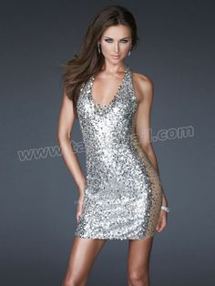 Trendy Mini Halter Top All Over Sequined Dress With Natural Waistline