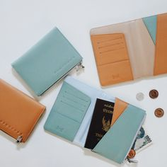 Leather Passport Cover genius passport insert money and coin smooth trip card bording pass ID Cards on holder