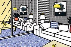 Roy-Lichtenstein-Wallpaper-with-Blue-Floor-Interior-Screenprint-1992