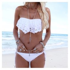 White Crocheted Triangle Bikini Strapless Top Bandeau Bathing Suit Swimsuit Bottoms Boho