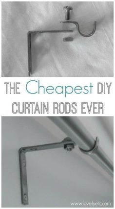 Forget buying expensive curtains rods - this DIY version is super simple to make. All you need are some inexpensive supplies from the hardware store. #curtains #curtainrods #DIY