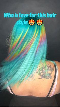 Rainbow Dyed Hair, Rainbow Hair Colors, Hair Dye Colors, Cool Hair Color, Color Block Hair, Best Hair Dye, Blonde Hair With Highlights, Aesthetic Hair, Grunge Hair
