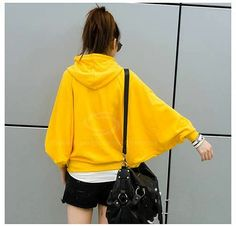 Casual 2013 Spring Solid Color Batwing Sleeve Hooded Hoodie For Women (YELLOW,M) China Wholesale - Sammydress.com