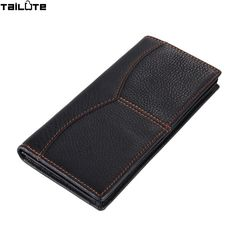 TAILUTE  Brand Solid Men Wallets Fashion Male Clutch Wallet Genuine Leather Men Long Purses Card Holder Purses Men Coin Purse