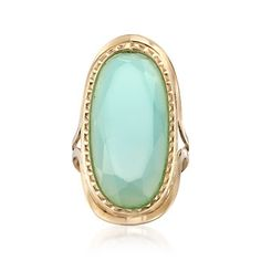 Italian Blue Chalcedony Ring in 14kt Yellow Gold