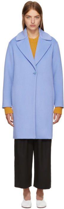 Cédric Charlier Blue Wool Coat