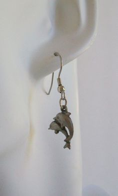 Two Dolphins Pewter Charm Earrings by ShadowoftheCross on Etsy