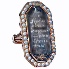 "This ring is from Marie Antoinette to her daughter Sophie. It translates, (roughly) ""To my dearest Sophie, forever, my dearest one. Forever."""