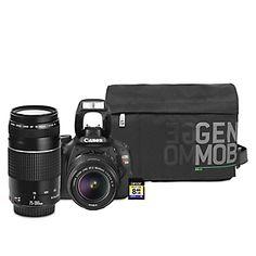 Cámara Reflex EOS Rebel T3i  18MP + Lente 18-55mm + Lente 75-300mm + Memoria SD 8GB + Maletín