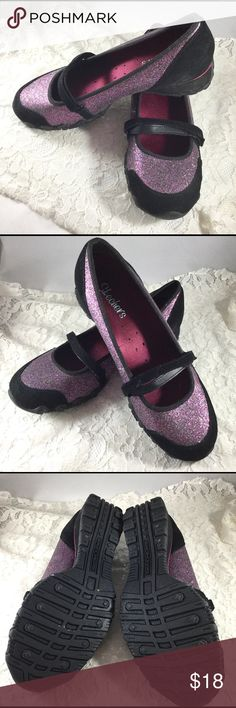 "Skechers Black Suede And Purple Glitter Shoes Cute Mary Jane type shoe.  Never worn...like new.  Nice purple glitter with a black suede strap across shoe...update on ""Mary Jane"" style. Skechers Shoes Flats & Loafers"
