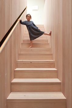 Articles about kid friendly home full surprises. Dwell is a platform for anyone to write about design and architecture. Timber Handrail, Timber Stair, Staircase Handrail, Wood Stairs, House Stairs, Stair Railing, Staircase Design, Plywood Interior, Interior Stairs