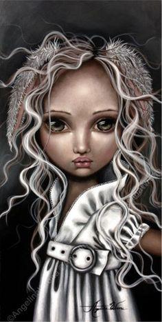 Art Print: Timide Lapin by Angelina Wrona : Lapin Art, Apple Art, Pop Surrealism, Gothic Art, Big Eyes, Cute Art, Decoupage, Art Drawings, Art Photography