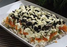 "Salad ""favorite"" with prunes and smoked ham. Salad Recipes, Snack Recipes, Cooking Recipes, Good Food, Yummy Food, Smoked Ham, Russian Recipes, Fish Dishes, Saveur"