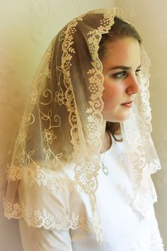 Evintage Veils~ Our Lady Blush Ivory Embroidered Lace Chapel Veil Mantilla Latin Mass Veil