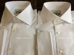 Solid White Tailored Executive Shirt High Collar Shirts, Cutaway Collar, White Shirts, White Tee Shirts