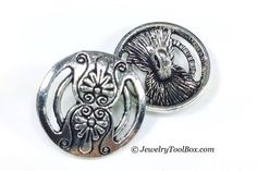 Metal Buttons for Bracelets, Shank 2mm, Vintage Floral Design, Pewter with Antique Silver Finish, 17mm Round, Lot Size 5 to 30, #1005