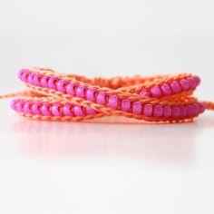 Wrap Beaded Bracelet, Beaded Bracelet, Double Wrap Bracelet, Crochet Bracelet, Crochet Beaded Bracelet, Neon Bracelet
