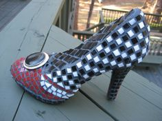 RESERVED Let's Go DancingMosaic Shoe by tallymosaics on Etsy, $125.00