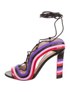 af10518934c Black leather Paula Cademartori Crazy Stripe sandals with purple and pink  suede details