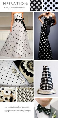 A collection of ideas for a black and white polka dotted wedding. Great bridesmaid dress, unusual wedding gown, bow tie, paper straws, anemone bouquet and modern cake.