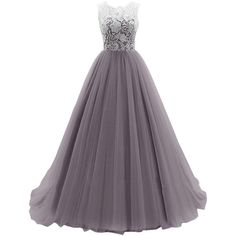 Dresstells Women's Long Tulle Prom Dress Dance Bridesmadi Gown with... ($70) ❤ liked on Polyvore featuring dresses, gowns, long dresses, long evening gowns, prom gowns, purple prom dresses and lace gown