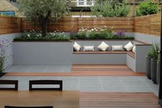 Our signature landscaping style combines practical, low maintenance planting and quality contemporary materials with clean lines and strong geometric shapes. Blending modern and traditional styles to create London gardens to be enjoyed by all. Backyard Seating, Backyard Patio Designs, Small Backyard Landscaping, Garden Seating, Back Garden Design, Terrace Design, Back Gardens, Outdoor Gardens, Outdoor Sectional