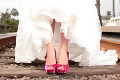 orange county wedding photography hot pink bridal shoes