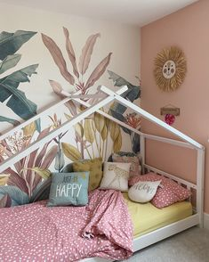 Hilary (@hilaryavamay on Instagram) has used our Redoute wall mural to create a dreamy jungle theme for her daughter's bedroom! | Get inspired by the unique and creative spaces styled by our community and start creating your dream space, today. Click this photo to discover more beautiful room makeovers.