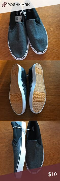 Men's slip on shoes. Grey with black slip on shoes similar to Vans. These are from Target. Brand new. One mark on bottom sole. See pictures. Mossimo Supply Co Shoes Sneakers