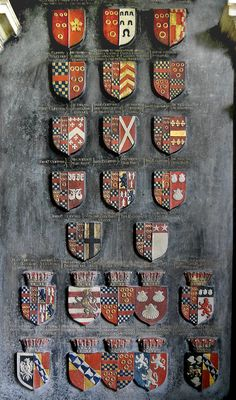 Heraldic achievements on the tomb of Lady Anne Clifford, 14th Baroness de Clifford, Countess Dowager of Dorset, Pembroke and Montgomery (d. 1676), in St. Lawrence's Church at Appleby-in-Westmoreland, Cumbria, England.