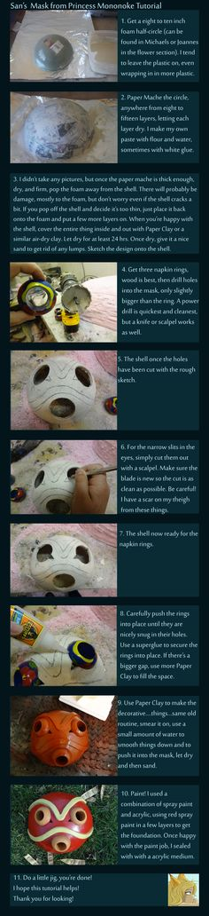 How to make San's mask - Princess Mononoke OMG I can finally cosplay this Cosplay Tumblr, Cosplay Diy, Halloween Cosplay, Cosplay Costumes, Cosplay Ideas, Halloween Ideas, Cosplay 2016, Dyi Costume, Costume Ideas