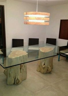 Do you need inspiration to make some Rustic Furniture and Decorating Ideas in Your Home? Rustic furniture and decorating are a way of working within traditions of an entire era, style, and country of origin. Glass Dining Room Table, Wood Table, Log Furniture, Furniture Design, Furniture Logo, Antique Furniture, Bedroom Furniture, Outdoor Furniture, Tree Table