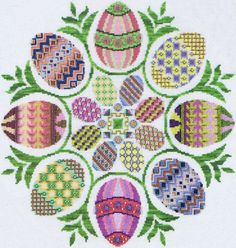 Eggs Ala Round - cross stitch pattern by Glendon Place - Circles of colourful Easter eggs. Cross Stitching, Cross Stitch Embroidery, Embroidery Patterns, Cross Stitch Patterns, Bead Crafts, Diy And Crafts, Cross Stitch Books, Easter Cross, Coloring Easter Eggs